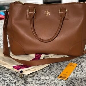 Tory Burch double zip tote in luggage